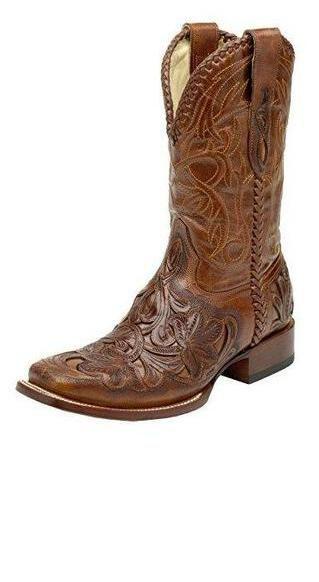 4dedfaae5ea Corral Men's Chedron/Cognac Willow Tooled Square Toe Cowboy Square ...