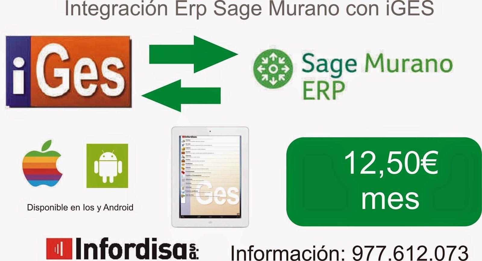 iGes aplicación de preventa sobre Ipad o Android con conector para Erp Sage Murano.