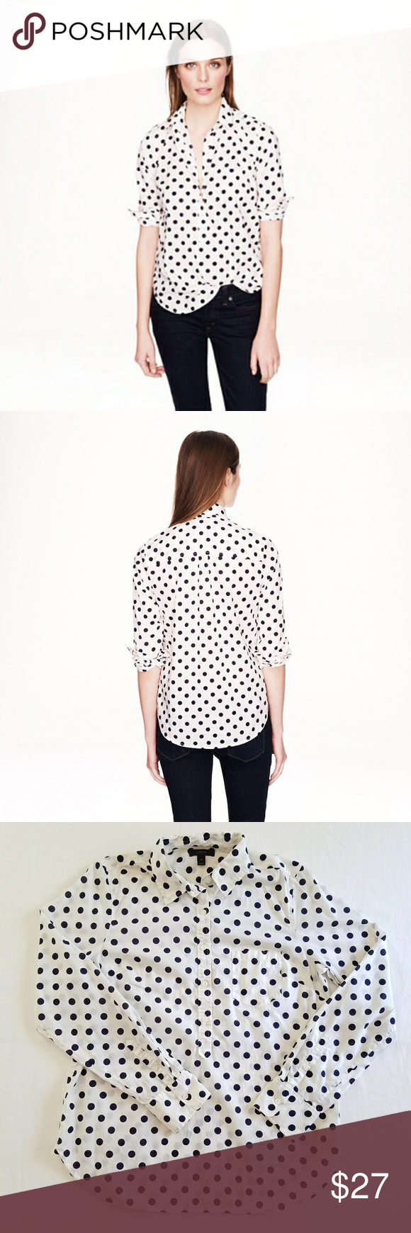 J. Crew polka-dot popover shirt J. Crew polka-dot popover in white with large navy polka dots. Size 8.  100% lightweight cotton.  Front button placket.  Pocket on left breast.  Bust is 20 inches and length from shoulder to hem is 27.5 inches.  No stains, holes, or snags. J. Crew Tops Button Down Shirts