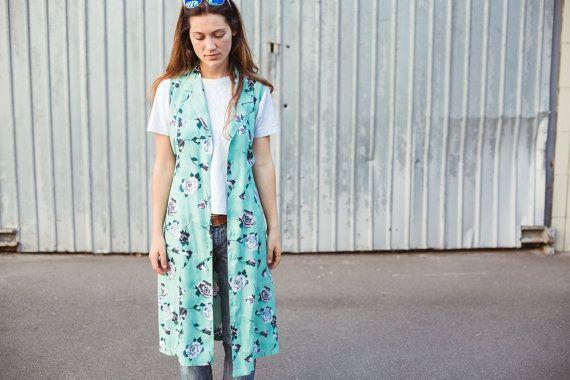 Vintage Long Sleeveless Shirt Dress Vest by VintageNoLabel on Etsy