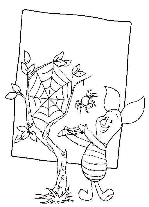 kleurplaat winnie de pooh en knorretje knorretje met spin