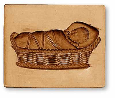 Springerle mold: Child in a Cradle, from www.springerle.com