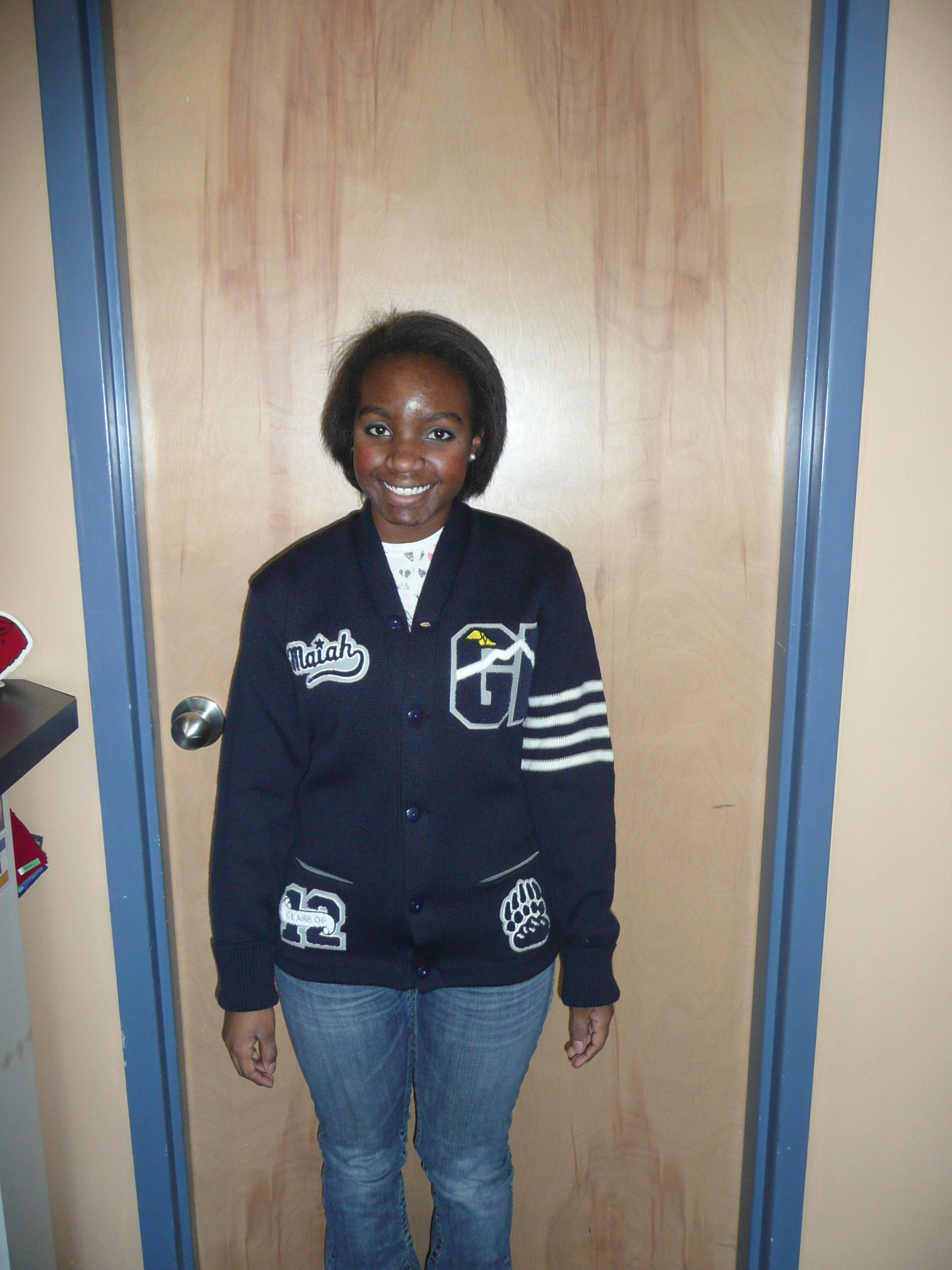 fcbc19302 Blue and grey girls Letterman sweater