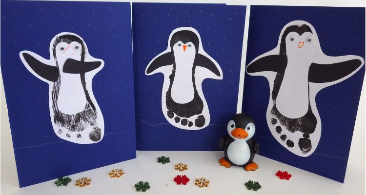 Penguin Christmas Cards Footprint.Make Your Own Penguin Footprint Christmas Cards