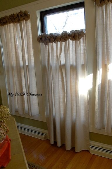 Burlap Trim Drop Cloth Curtains - Jute en Decoratie