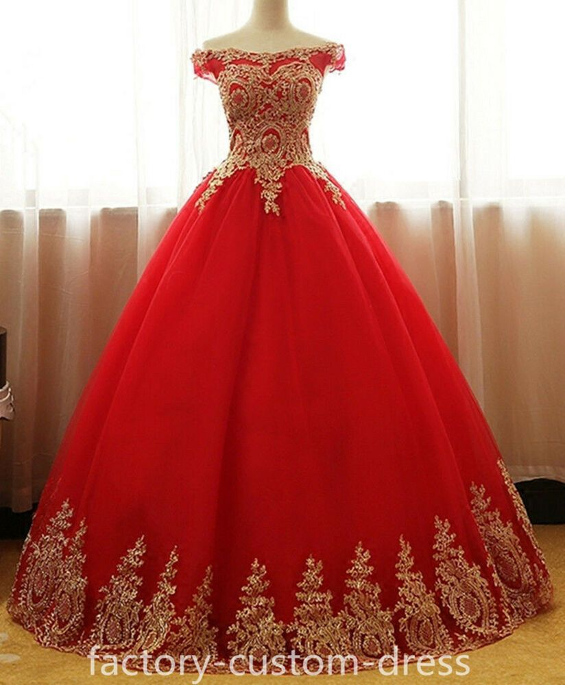 Ebay Sponsored Red And Gold Applique Ball Gown Sweet 16 Dress Quinceanera Prom Dresses Custom Red Quinceanera Dresses Sweet 16 Dresses Sweet 15 Dresses [ 1000 x 824 Pixel ]