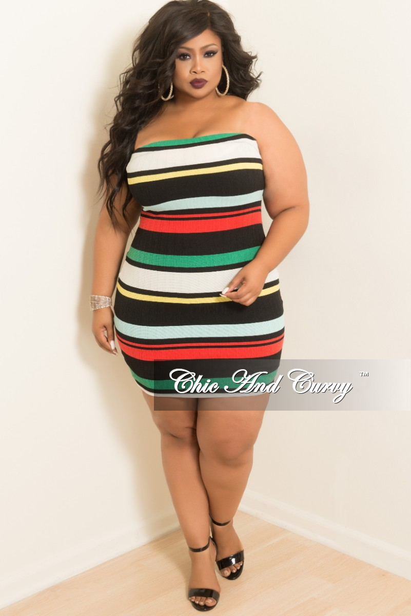 New Plus Size Stripe BodyCon Tube Dress/Skirt in Green Red ...