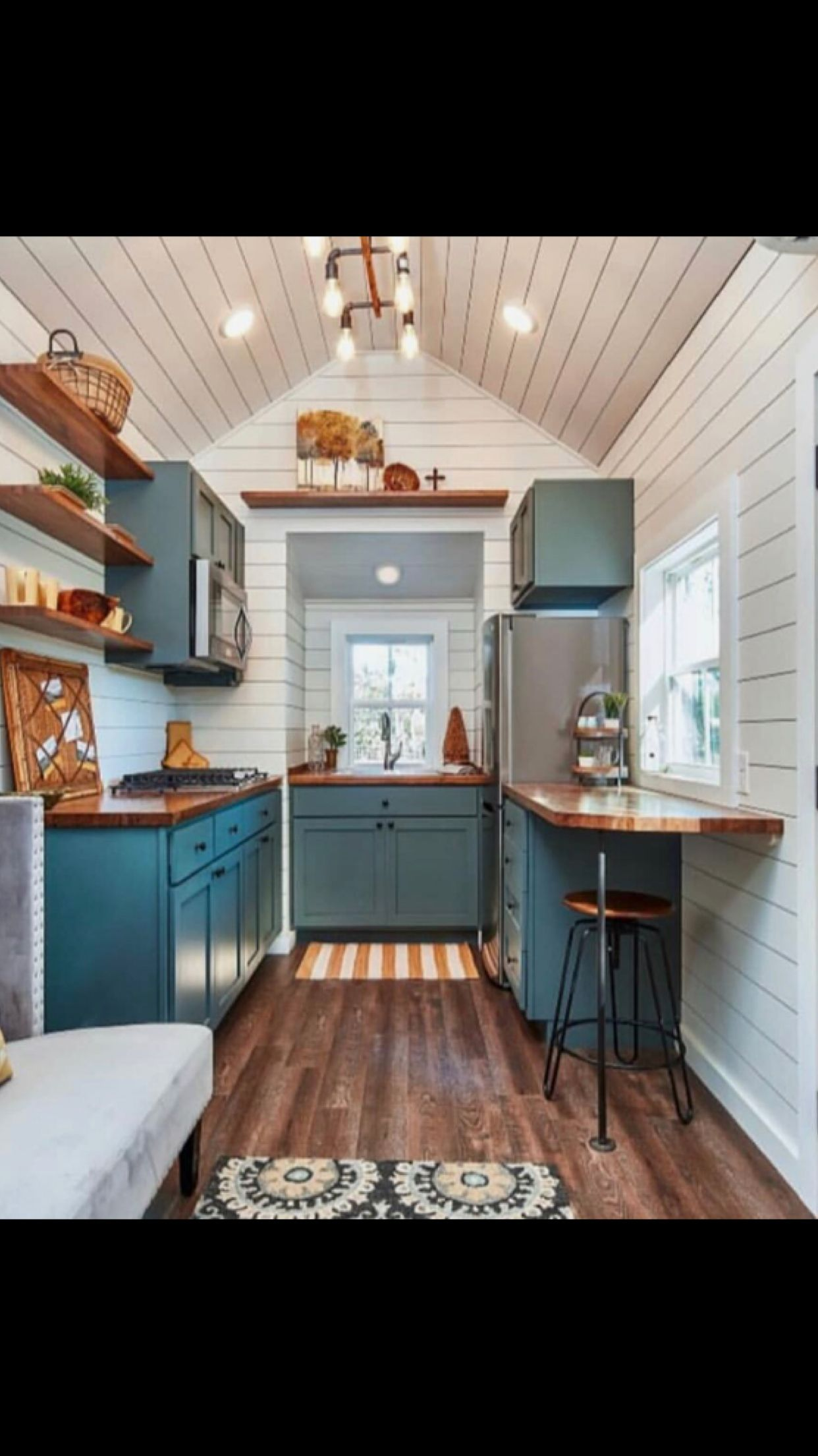 That Color Blue Tiny House Kitchen Tiny House Interior Design Tiny House Interior