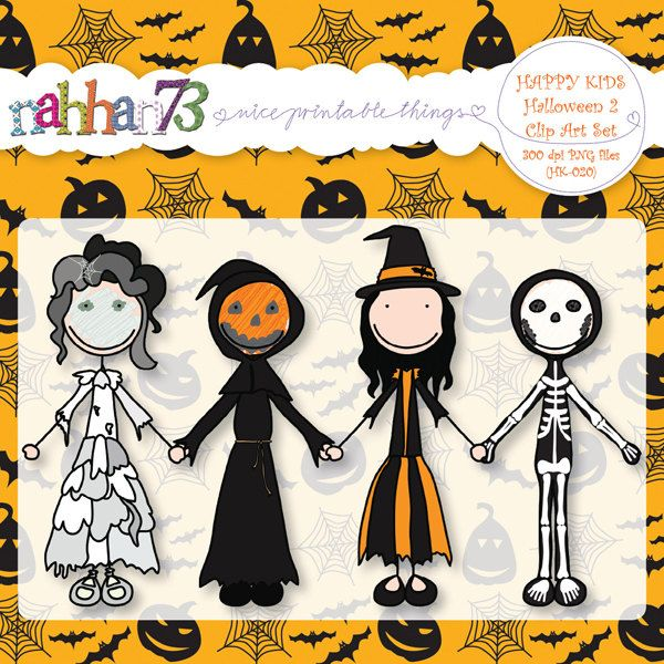 Happy Kids Halloween 2 - Clip Art Set for Banners, Invites, Party - halloween decorations party