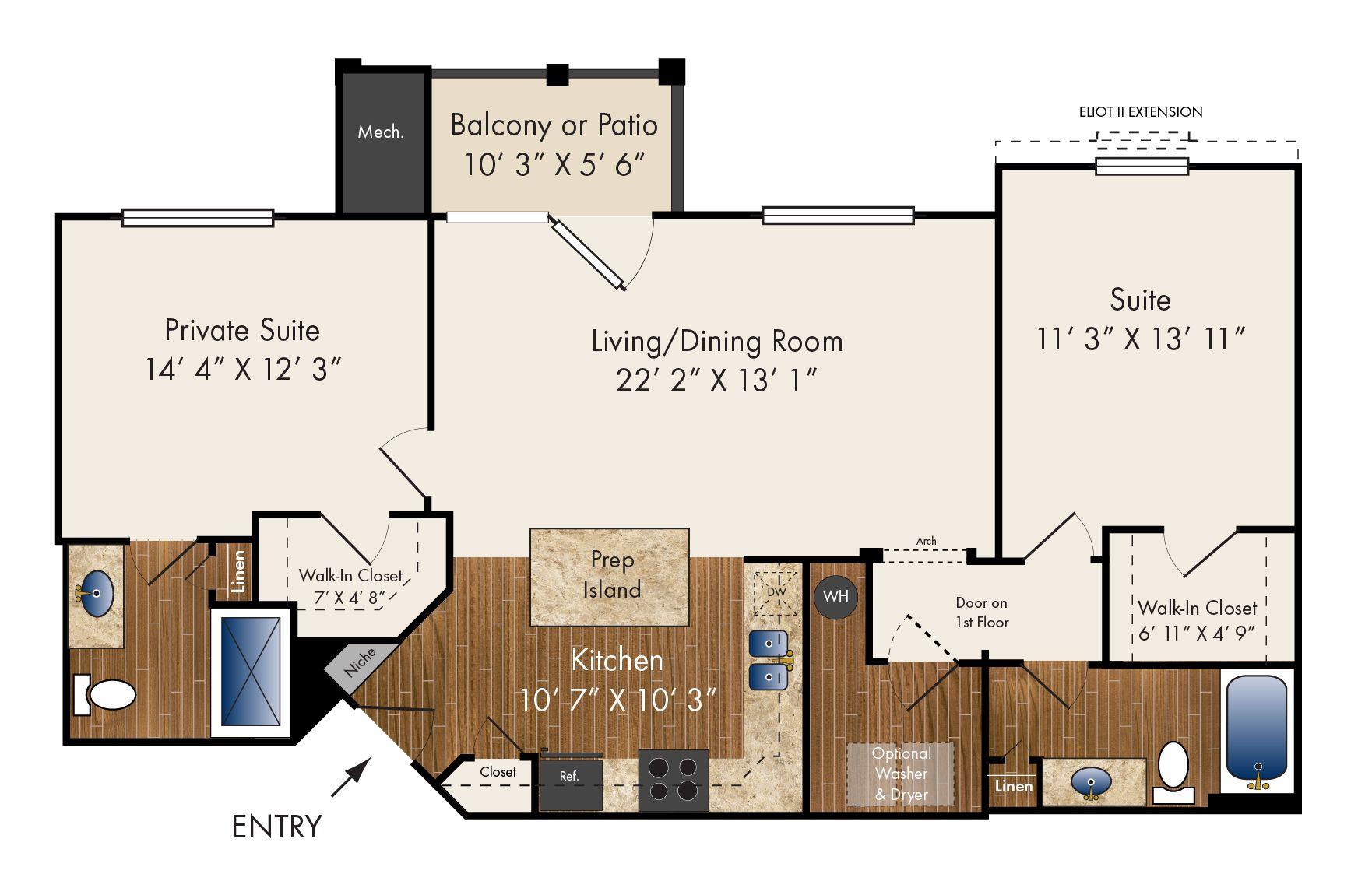 """""""Eliot"""" Two Bedroom 1174 1186 sq. ft. Floor plans"""