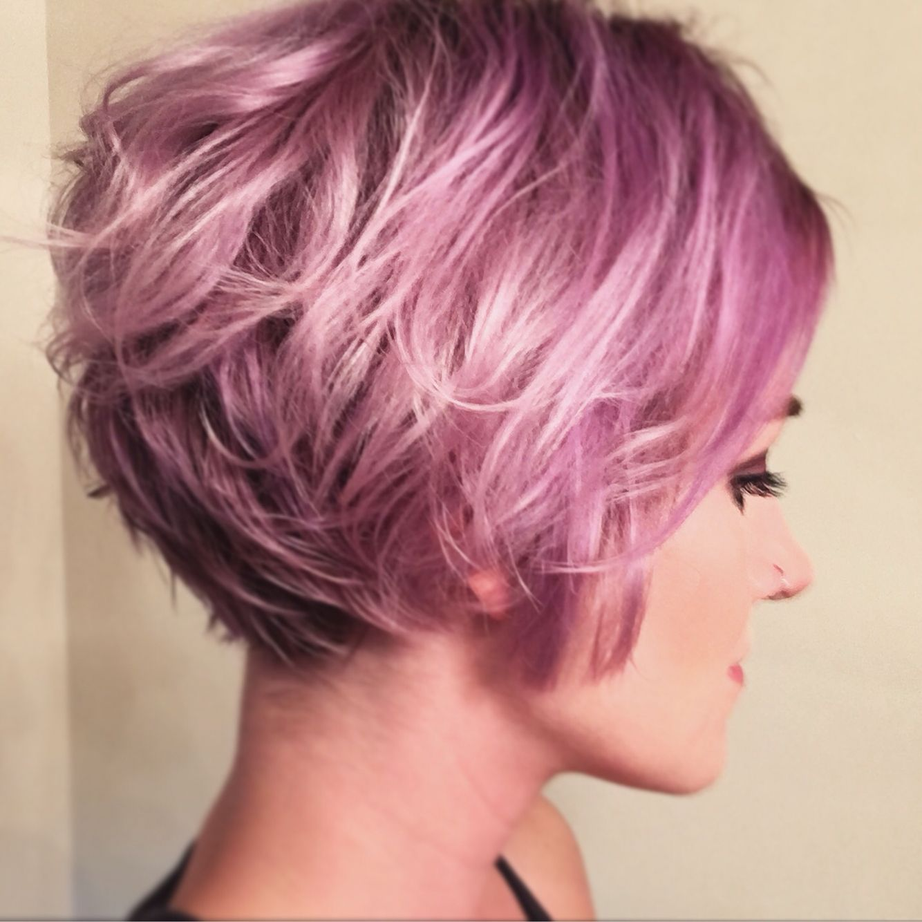 Lilac/Lavender short hair using Overtone products in Pastel Purple & Pink.