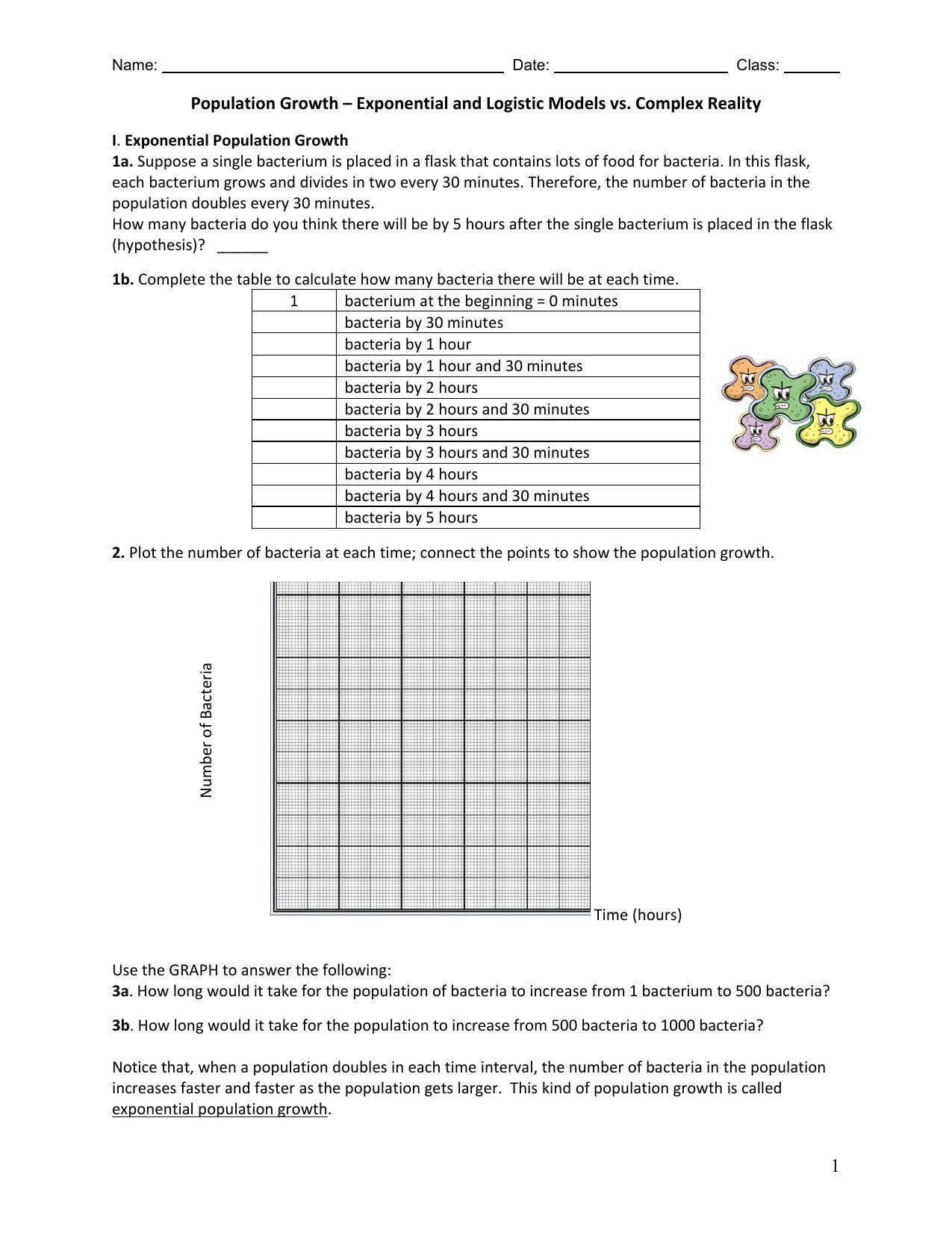 Bill Nye Population Worksheet Population Growth Worksheet