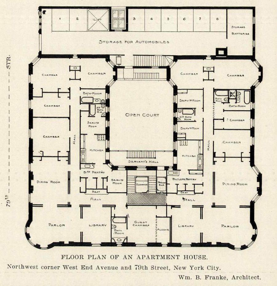Floor plan of an apartment house on 79th Street, New York City ...