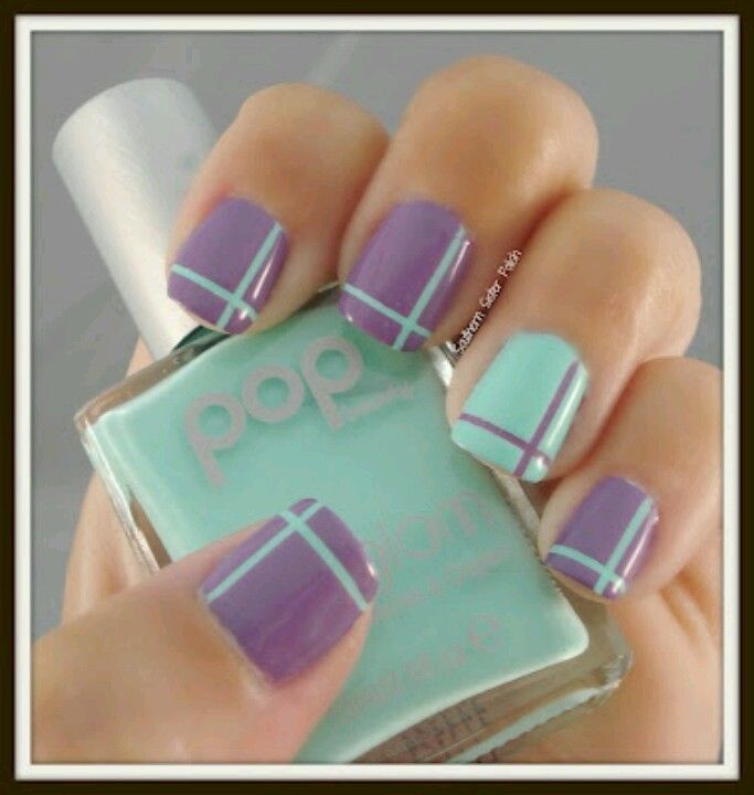 Cute Easy Nail Designs Using Tape: Lilac & Minty Nail Art. Cute Spring Or Easter Idea