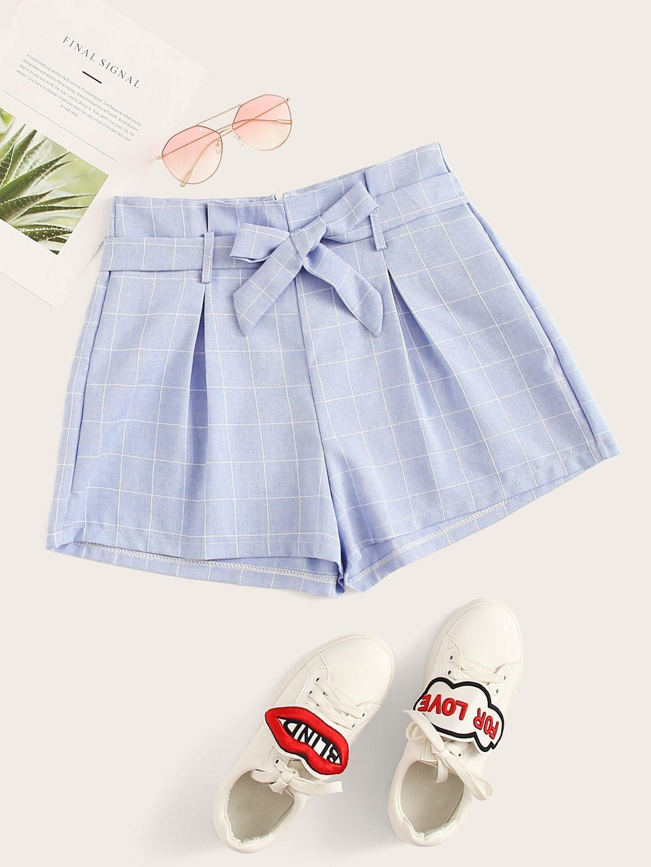 Zip Back Plaid Self Tie Shorts