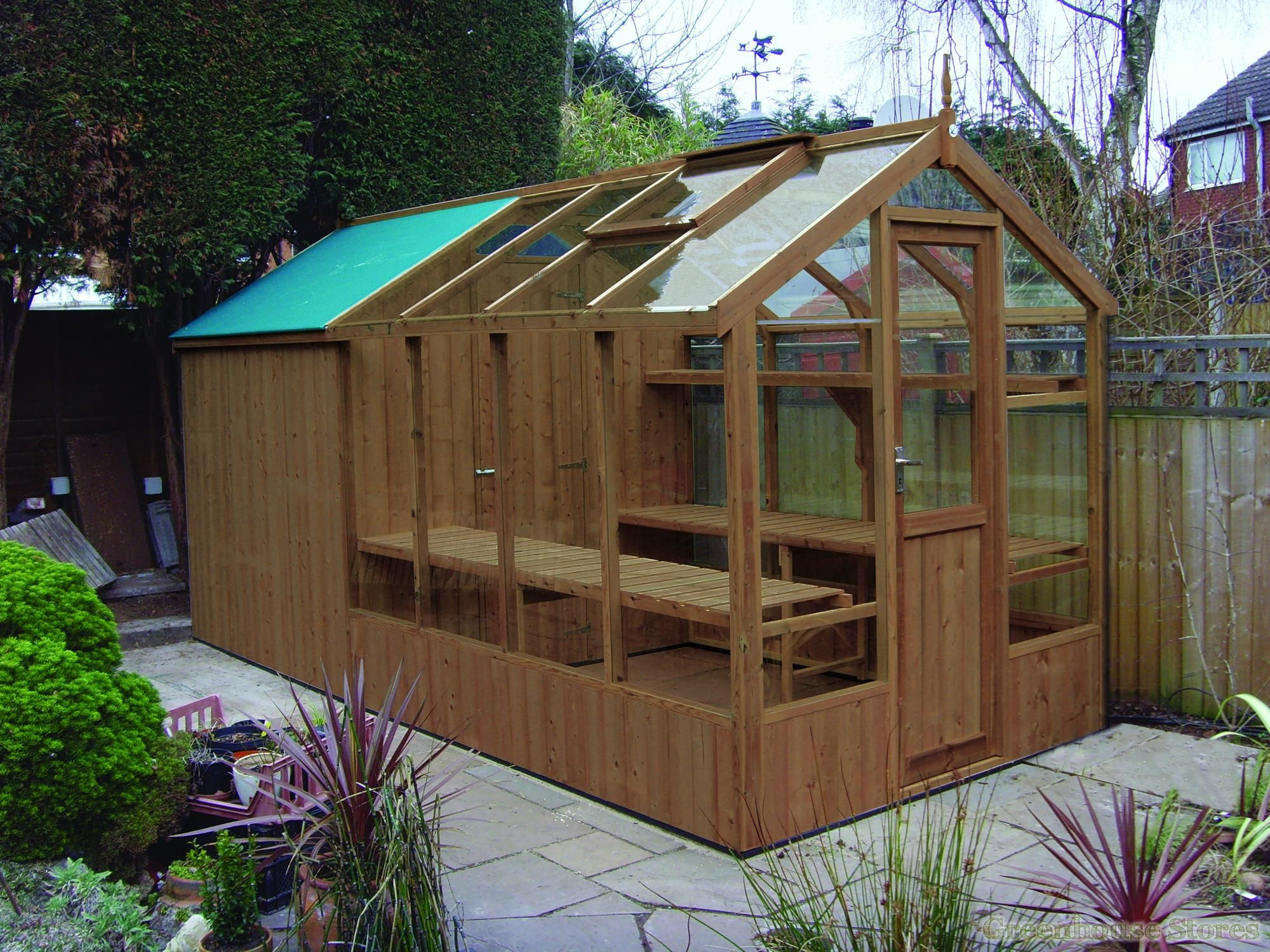 swallow kingfisher greenhouse shed combination with free installation kingfisher x timber combi greenhouse includes toughened glass autovents and locking
