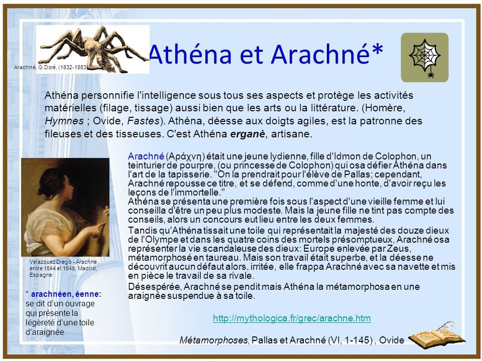 Athena Et Arachne Metamorphoses D Ovide Livre 6 Ovide Histoire Universelle Athena