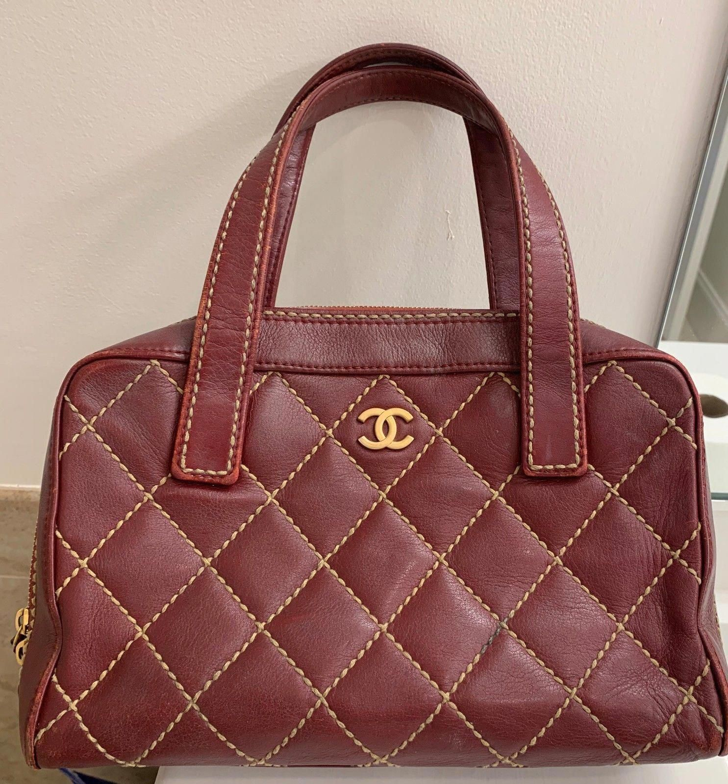 Chanel Red Leather Quilted Wild Stitch Flap Medium Satchel Handbag  229.0   chanel  handbag  Chanelhandbags 078633c80834a
