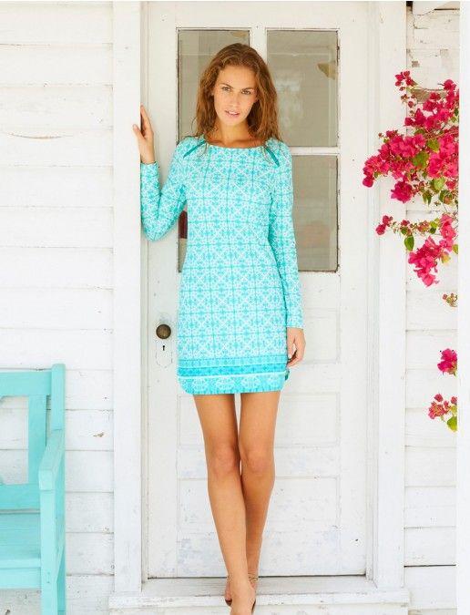 ecbbf23e95 Cabana Life, Monaco Blue Zip Shoulder Dress, Womens Dresses And Cover Ups