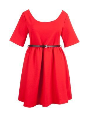 Inspire Red 1/2 Sleeve Skater Dress/ maybe christmas day with black tights and boots