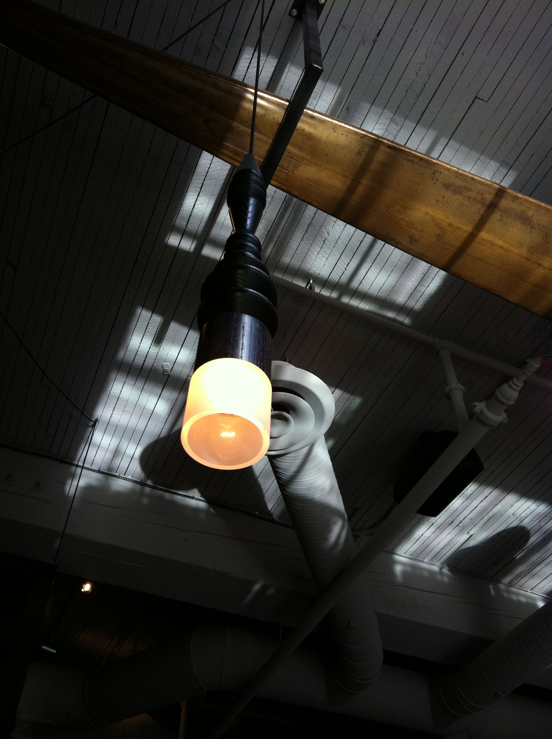 Close Up Of Furniture Leg Re-Purposed As Light Fixture -5883