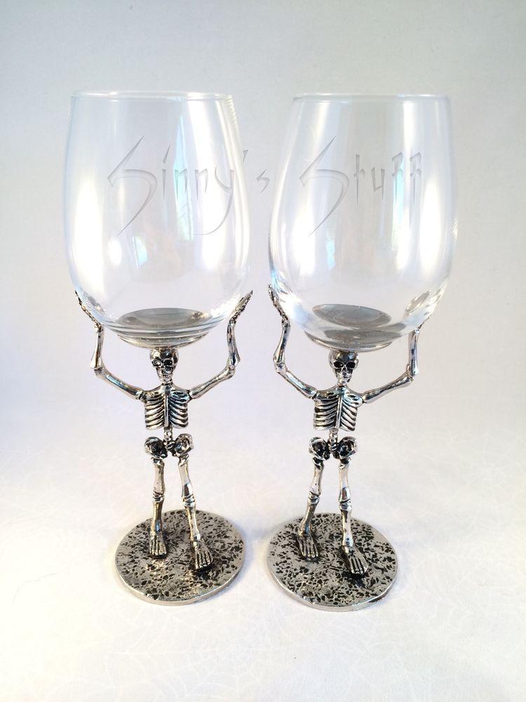 Superior 2 Pottery Barn Skeleton Wine Glass Walking Dead Halloween Gothic Barware NWT