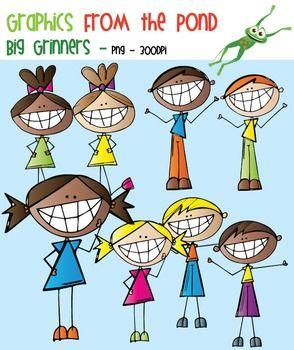 Big Grinners - Scrappy Kids Clipart FREEBIE