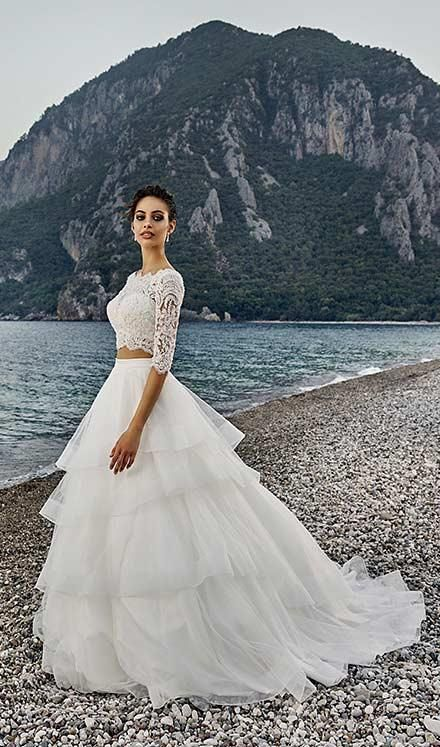2 Piece Beach Wedding Dresses 2017 Cheap Lace Top Tulle Skirt Plus Size Gowns Eddy K Bridal