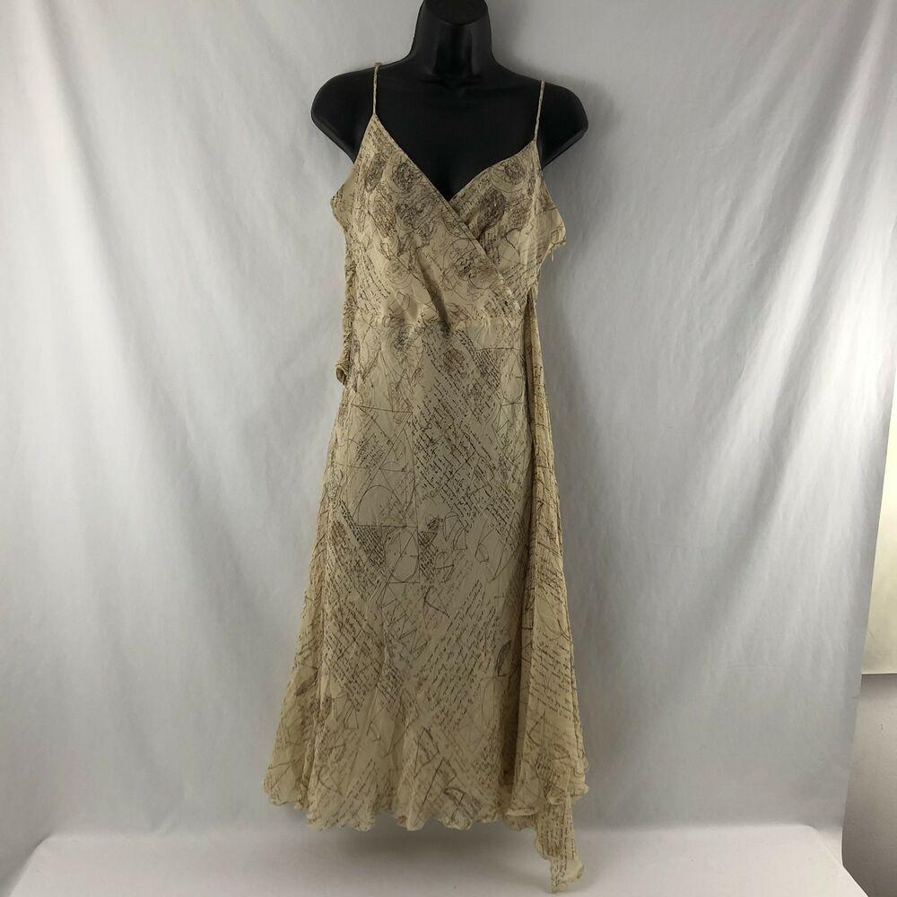 222f827db51f Lapis Anthropologie M Tan Silk Maxi Dress Asymmetrical Ruffles Davinci  Print #Lapis #MaxiDressSheathDress #