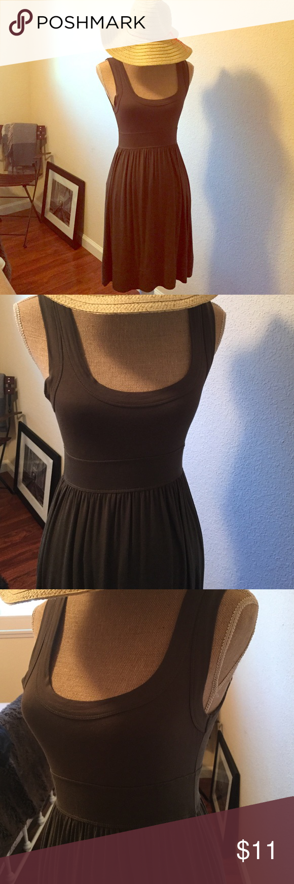 Bundle Sundress and hat Forever 21 dress excellent condition olive green. Hat worn once from target. Dresses