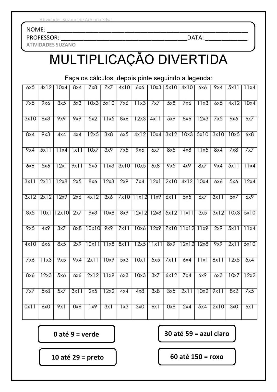 Tabuada Atividades De Matematica Atividades De Matematica