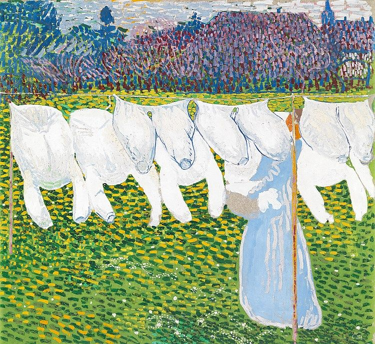 Cuno Amiet (1868-1961) was a Swiss painter, illustrator, graphic artist and sculptor. As the first Swiss painter to give precedence to colour in composition, he was a pioneer of modern art in Switzerland. The great scope of his work of 70 years, and Amiet's predilection for experimentation, make his œuvre appear disparate at first – a constant, though, is the primacy of colour. At the turn of the century, he came close to a pointellist approach.