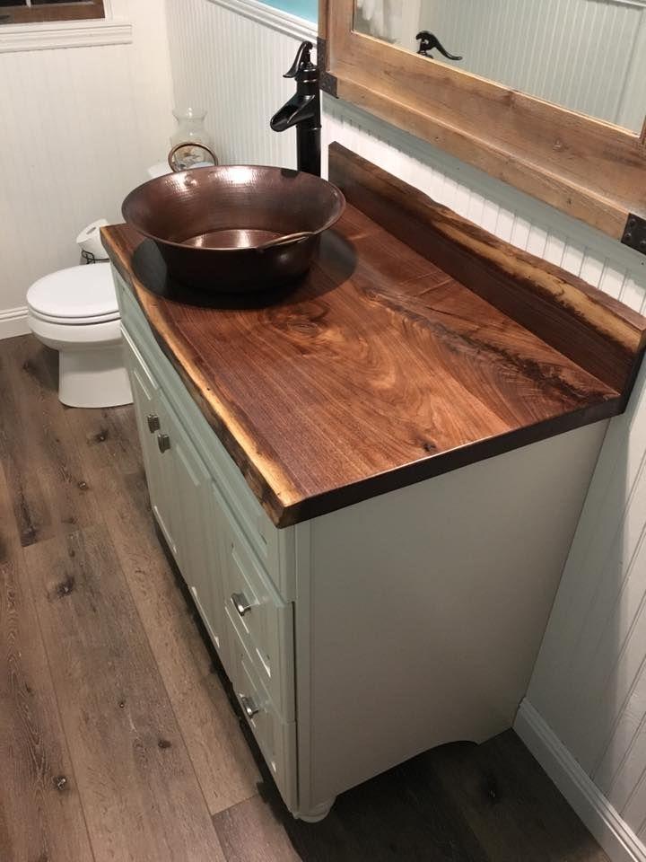 Live Edge Walnut Slab Bathroom Vanity Top And Back Splash Wood
