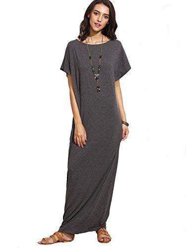 Verdusa Women s Summer Casual Loose Long Dress Short Sleeve Pocket Shift  Maxi Dress Dark Grey M 4cdd402cd74