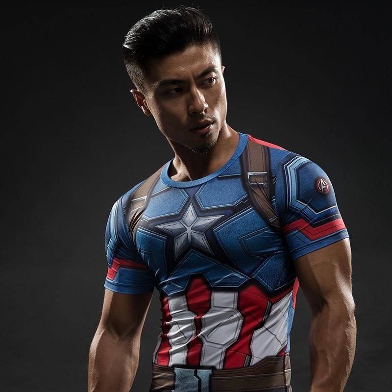 eed6631e2d691b Short Sleeve Compression Shirt - Captain America in 2019 | SuperHero ...