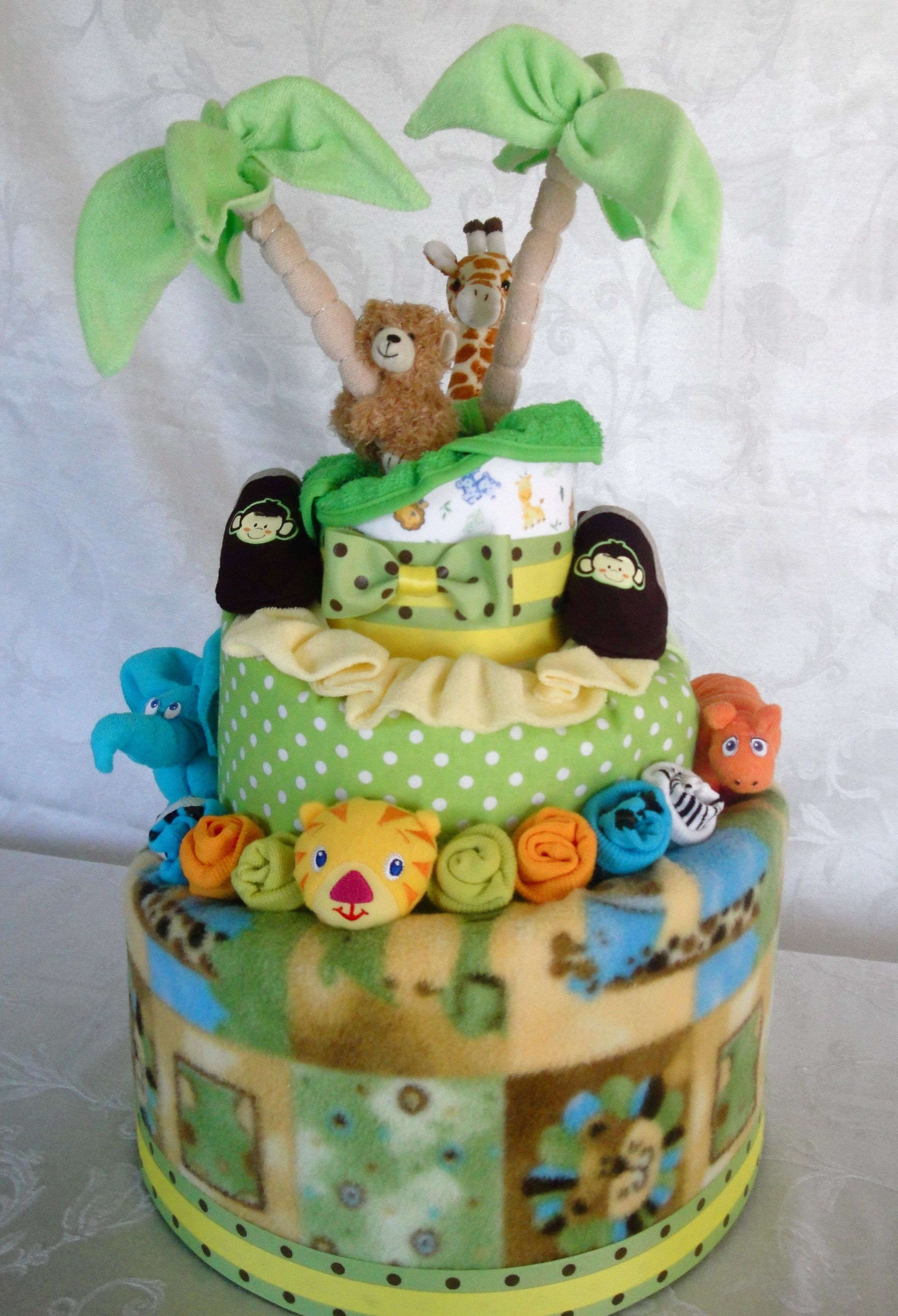 A Jungle Themed Diaper Cake Perfect For A Jungle Themed Shower