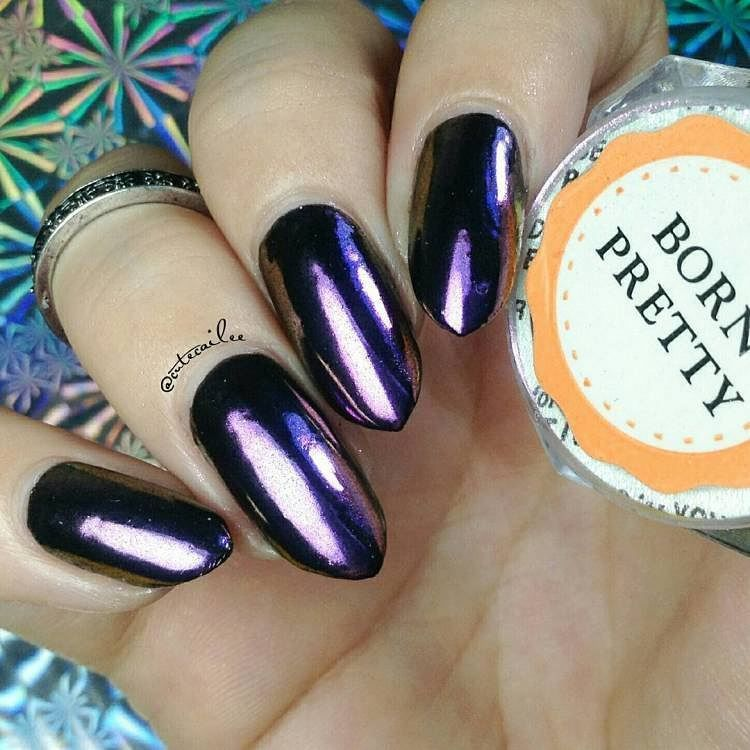 BORN PRETTY chameleon holographic nail art powder design review from ...