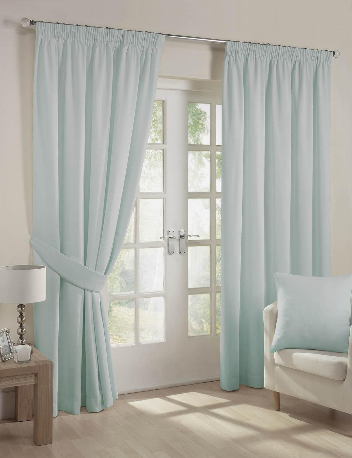 Fiji Ready Made Lined Curtains Eau De Nil Pencil Pleat Uk Delivery