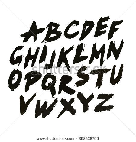 Bold grunge handwritten font  Sans serif abc  Distress
