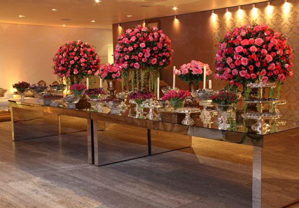 Mesa de bolo feita de espelho decora o de casamento pinterest mesa de doces casamento - Chique campagne ...