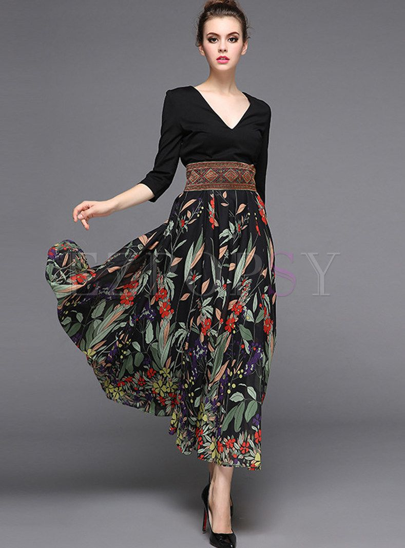 Stylish Stitching High Waist Maxi Dress | style ➤ yin natural ...