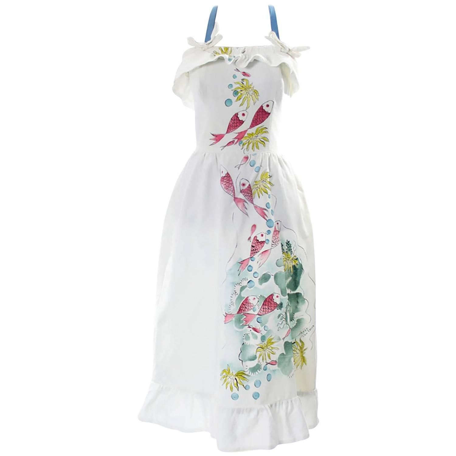 Rare Vintage Tina Leser Hand Painted Dress 1940s Fish Reef Halter Signed | From a collection of rare vintage day dresses at https://www.1stdibs.com/fashion/clothing/day-dresses/