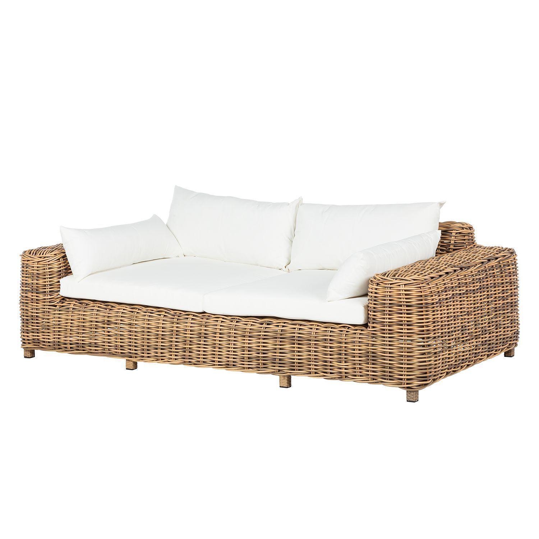 Loungesofa Calla Millor 2 Sitzer Polyrattan Braun Beige Lounge Mobel Lounge Aussenmobel