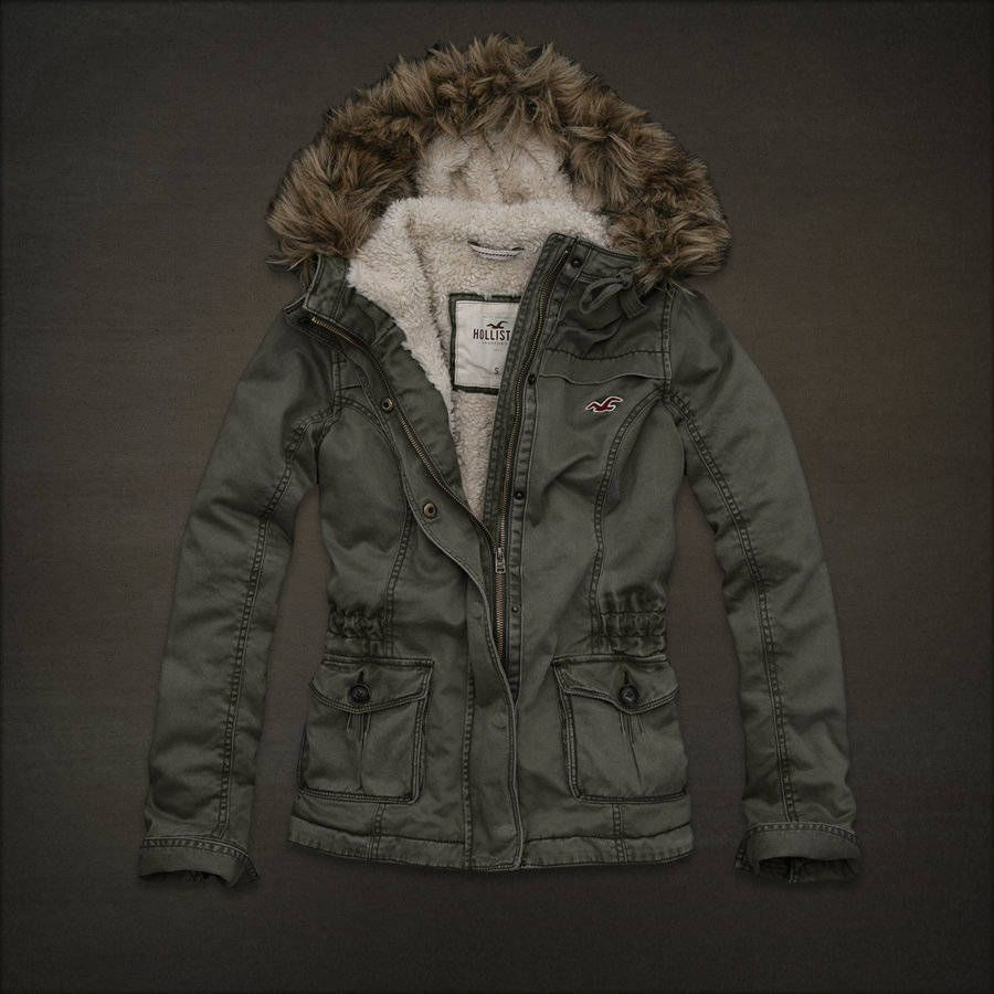 Nwt Ladies Hollister Fur Lined Parka Jacket Sz L Army Green Womens Sherpa Winter Outfits Warm Jackets [ 900 x 900 Pixel ]