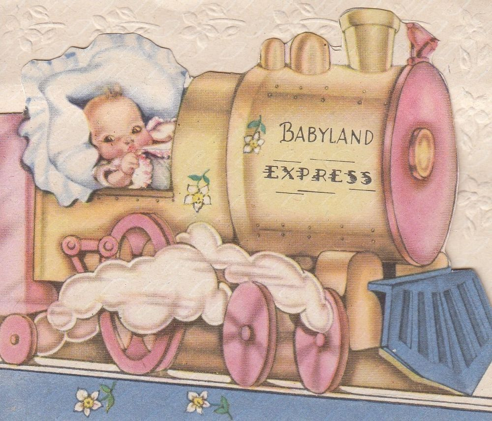 Vintage Greeting Card Baby Birth Announcement Train Engine