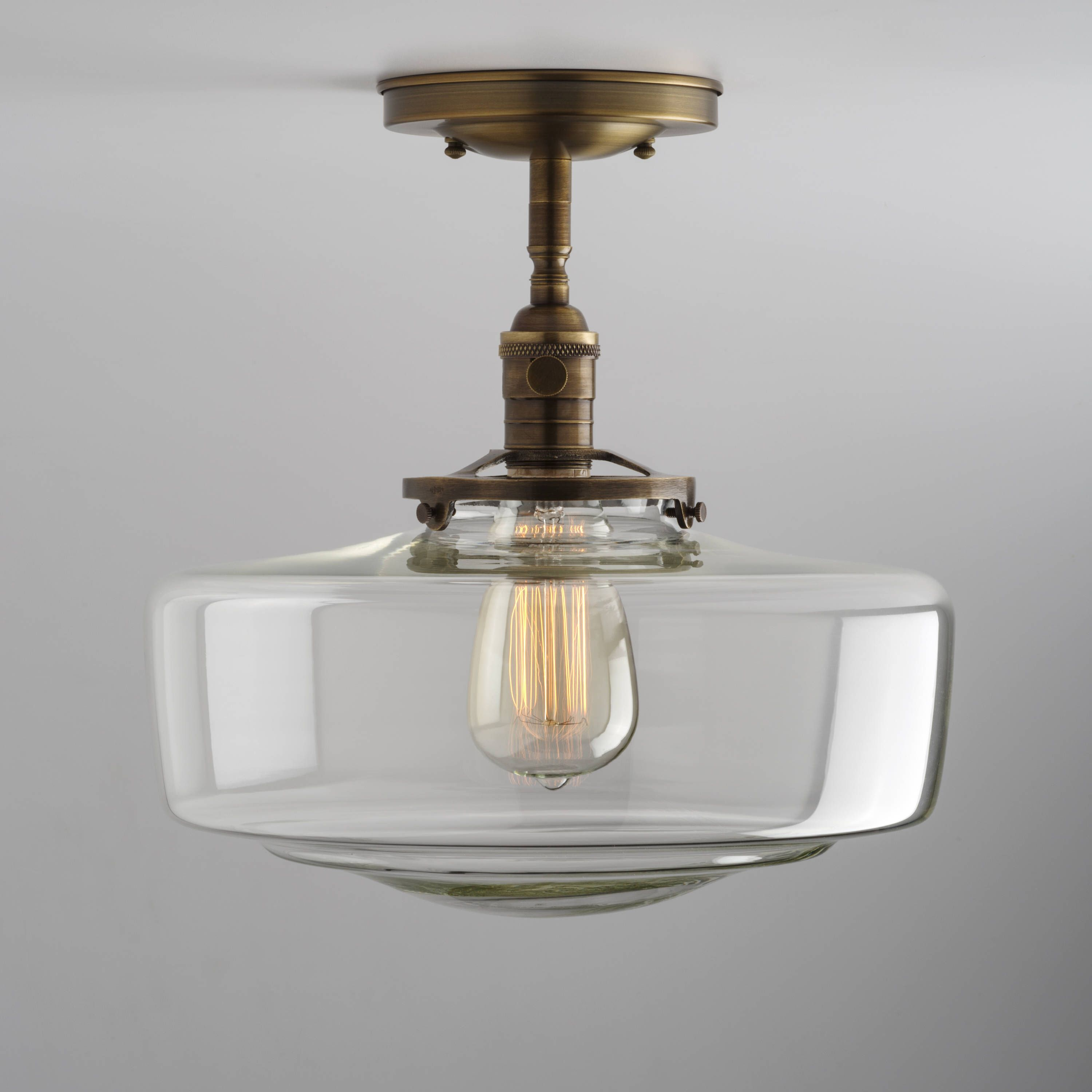 Schoolhouse Large Clear Glass Shade Flush Mount or Semi