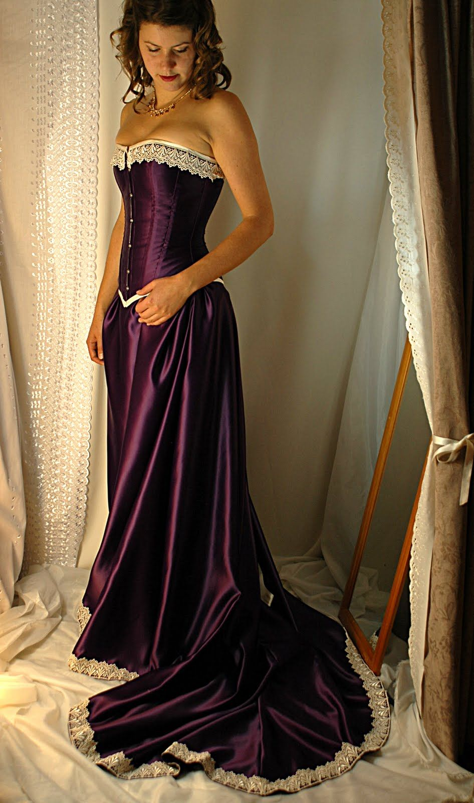Image detail for cadbury purple and antiqued ivory steel for Steel boned corset wedding dress