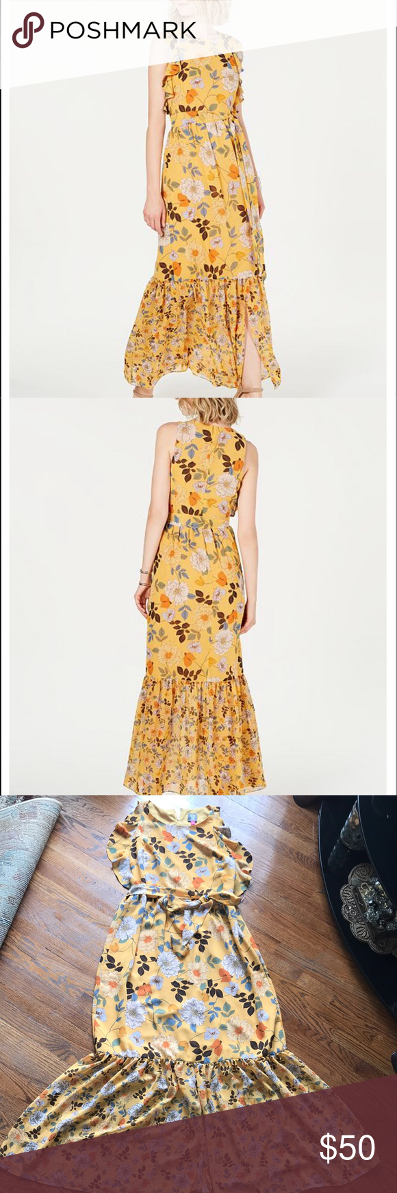 Vince Camuto Maxi Dress Yellow Floral Maxi Dress Maxi Dress Floral Maxi Dress [ 1740 x 580 Pixel ]