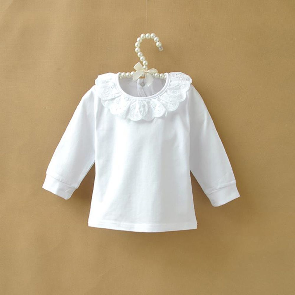 58950ec8b Find More Tees Information about Autumn Children T shirt Baby Girls Tops  Cotton Long Sleeve White Shirts for Girls Lace Collar Kids Clothes Girls T  shirt ...