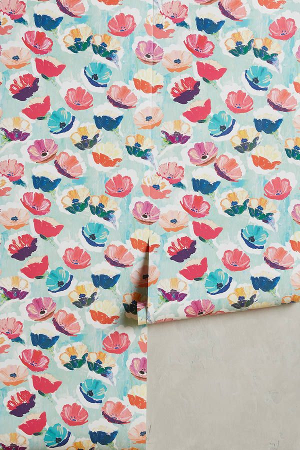 Anthropologie Painted Poppies Wallpaper Magnolia